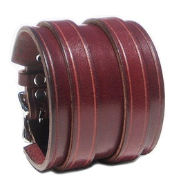 "2 1/4"" Wide Burgundy Red Leather Wristband Cuff With 2 Silver Buckles"