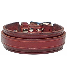 "1"" Wide Burgundy Red Leather Wristband Cuff Bracelet With Silver Buckle"