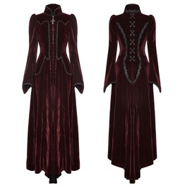 Punk Women's Long Dress Jacket Purple Gothic Steampunk Victorian Vtg Dress