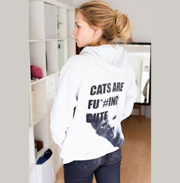 Cat's Are Fu*#Ing Cute Grunge Style Hooded Zip Jacket Cute Cat Fashion