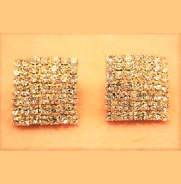 Designers Inspired Diamond Gold Square Crystal Rhinestone Stud Earrings