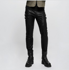 Mens Black Pleather Pants Vegan Leather Fetish Punk Trousers Free To Ship