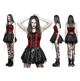 Ladies Red Plaid Gothic Punk Corset Back Layered Mini Dress Free To Ship