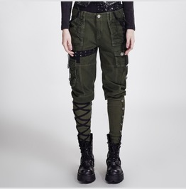 Ladies Olive Green Retro Military Pants Steampunk Army Trousers Ship Free