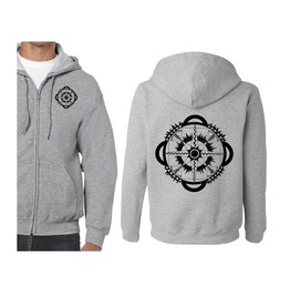 Front/Back Printed Soft Grey Zip Up Hoody With Hand Printed Design