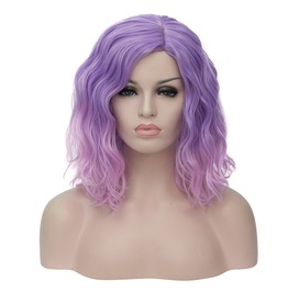 Short Bob Curly Fluffy Hair Heat Resistant Ombre Synthetic Hair Wig Women