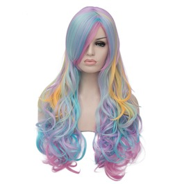Multi Color Rainbow Hair Highlights Long Fluffy Wavy Synthetic Wig Women