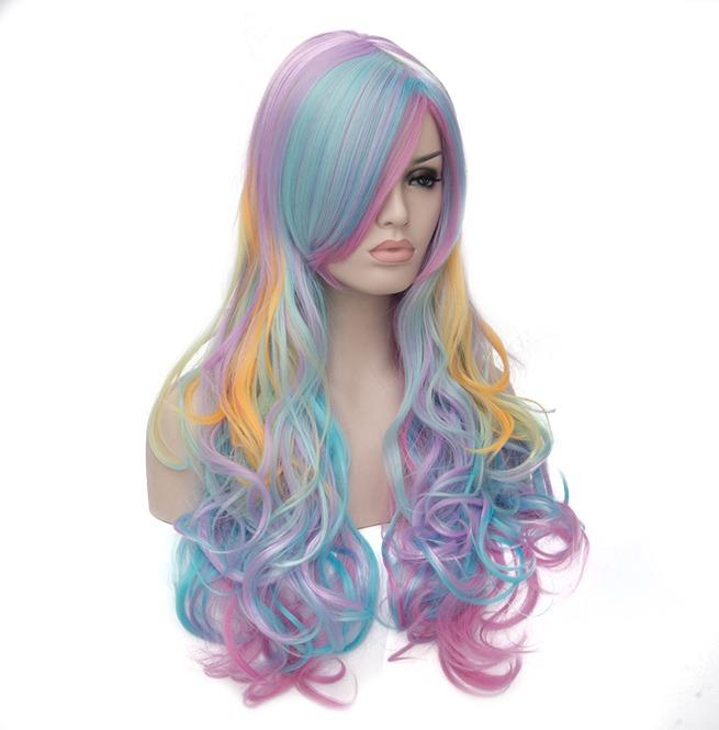 Multi Color Rainbow Hair Highlights Long Fluffy Wavy Synthetic Wig