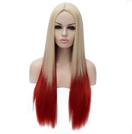 Long Ombre Straight Blonde Root Red Synthetic Wig Women