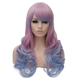 Pink Root Long Wavy Hair With Bangs Synthetic Wig Women