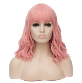 14 Inches Pink Short Curly Wavy Synthetic Wig With Air Bangs Women