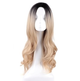 Black And Blond Ombre Long Body Wave Middle Parting Synthetic Wig Women