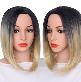 12 Inches Straight Ombre Blonde Purple Grey Short Synthetic Wig Women