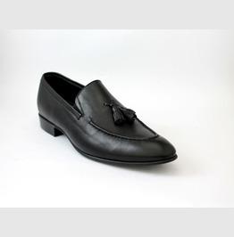 Handmade Men Black Leather Shoes Moccasins Loafer, Men Slip Ons Tassels Sho