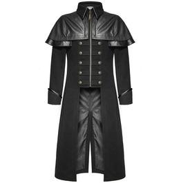 Men's Long Coat Gothic Highwayman Steampunk Vtg Jacket In Blazer Fabric