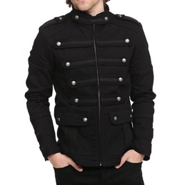 Men's Gothic Military Jacket Band Steam Punk Handmade Vintage Style Jacket