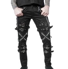 Goth Pant Dead Threads Buckles Zips Chains Straps Black Trousers Cyber Punk