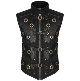 Men's Steampunk Gothic Vest In Premium Quality Cotton With Leather Patches