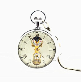 Vintage Classic Skeleton Moon&Sun Gold Plating Mechanical Pocket Watches