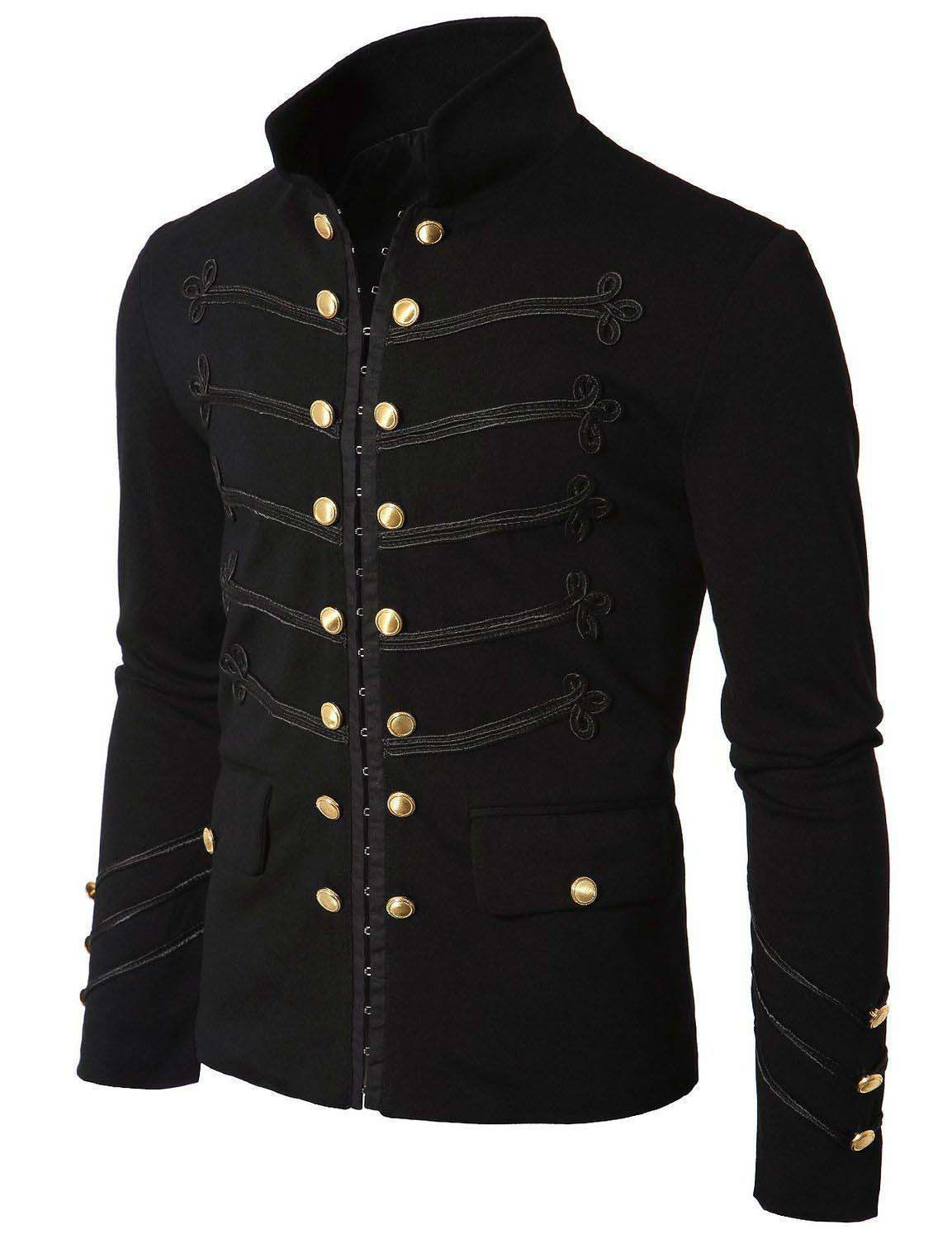 Men Modern Gothic Napoleon Military Hook Jacket Black Goth Lace Trim