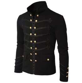Men Modern Gothic Napoleon Military Hook Jacket Black Goth Lace Trim Jacket
