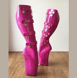18cm 10 Keys Lockable Beginner Ballet Wedge Boots Hoof Heelless Hot Pink