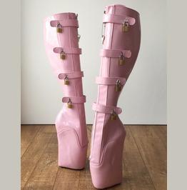 18cm 10 Keys Lockable Beginner Ballet Wedge Boot Hoof Heelless Light Pink
