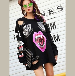 Oversized Pinned Print Sweater Long Sleeve Top Womens