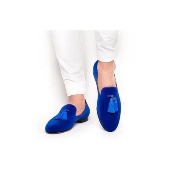 82cfb05c173d4 Handmade Mens Royal Blue Tassels Loafer Velvet Shoes, Men Blue Velvet Shoes