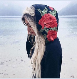 Rose Embroidered Women's Hoodie Sweatshirt Top
