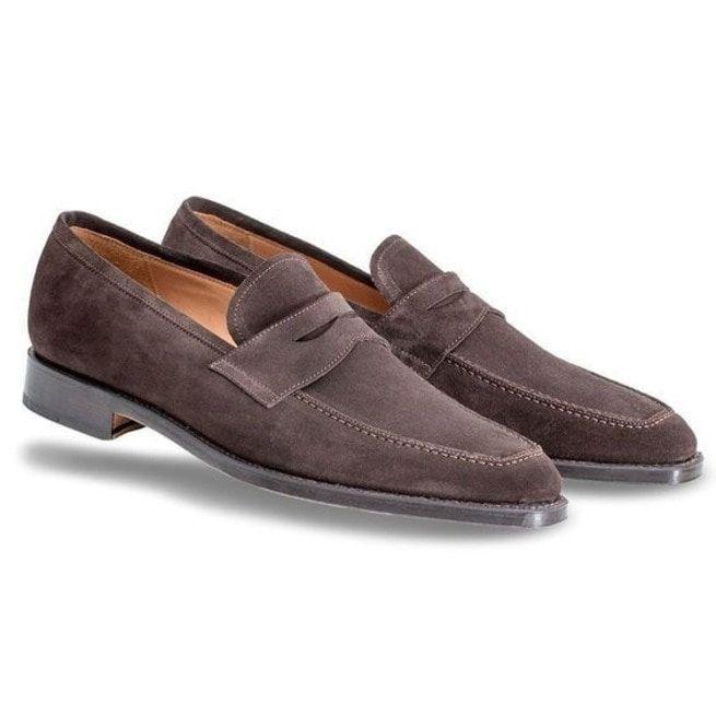 Handmade Men Brown Suede Leather