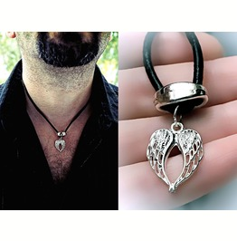 Mens Pendant Wings Bdsm Dominant Necklace Angel Demon Satanic Man Jewelry