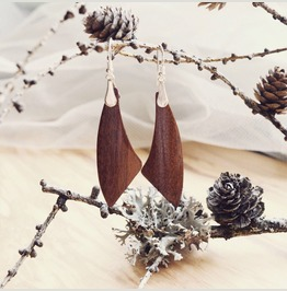 Mahogany Wooden Earrings With 925 Sterling Silver Hooks