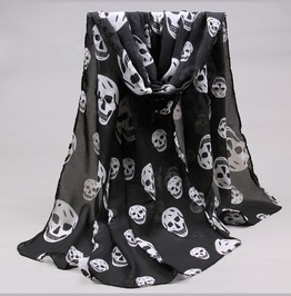 Skull Printed Silk Women's Scarf Black Brown White