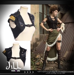 Steampunk Gnome Iron City Epaulet Leatherette Bolero Jacket Sp162 B