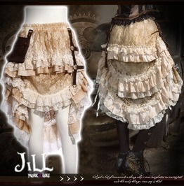 Steam Punk Victorian Sky Pirate Tiered Floral Lace Skirt W/ Holster Sp167 W