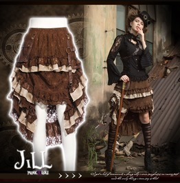 Steam Punk Victorian Sky Pirate Tiered Floral Lace Skirt W/ Holster Sp167 C