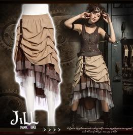 Steam Punk Victorian Map Designer Tiered Ruffle Layered Skirt Sp169