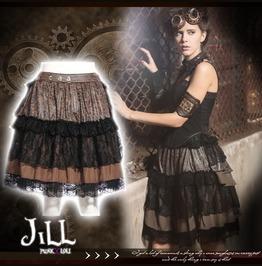 Steampunk Sage Regine Multi Fabric Tiered Skirt W/ Bustle Belt Sp171