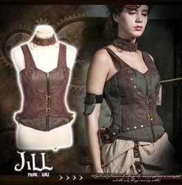 Steampunk Cosplay Potion Chemist Zippered Corset W/ Choker Sp173 C