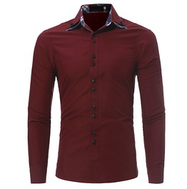 Slim Fit Plaid Inside Design Long Sleeve Dress Shirt Men