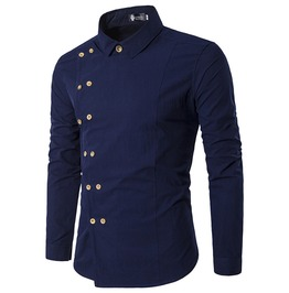 Steampunk Double Breasted Slim Fit Long Sleeve Side Buttons Dress Shirt Men