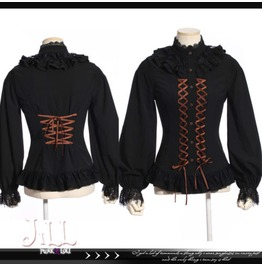 Steampunk Aristocrat Lacing Ribbon Lantern Sleeve Dress Shirt Jrsp179