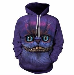Autumn Winter 3 D Print Cheshire Cat Hooded Sweatshirt Men Women