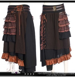 Steampunk Black Pearl Pirate Asymmetrical Hem Evening Skirt Jrsp187 B