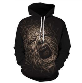 Skull Crazy Roar Arm Face 3 D Print Punk Hooded Sweatshirt Men Women