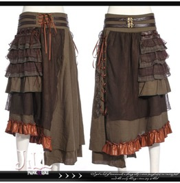 Steampunk Black Pearl Pirate Asymmetrical Hem Evening Skirt Jrsp187 G