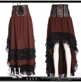 Steampunk Refugee Aristocrat Dip Hem Lace Trim High Rise Skirt Jrsp188