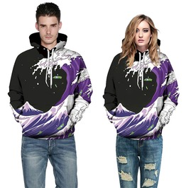 3 D Print Waves Of Purple Sprite Punk Hooded Sweatshirt Men Women