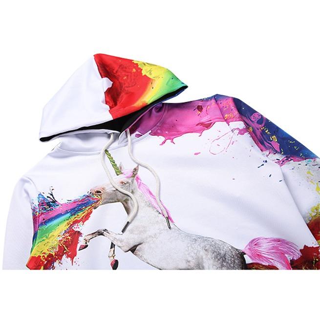 Hoodies Men//Women 3D Sweatshirts with Hat Print Paint Unicorn Thin Hooded